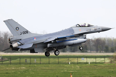 Royal Netherlands Air Force F-16AM (J-008; cn6D-164), about to touch down on RWY06 at the end of another mission during Frisian Flag 2019 at Leeuwarden AFB.