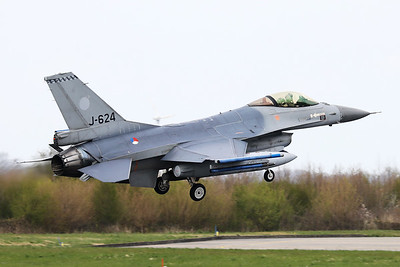 Royal Netherlands Air Force F-16AM (J-624; cn6D-56), about to touch down on RWY06 at the end of another mission during Frisian Flag 2019 at Leeuwarden AFB.