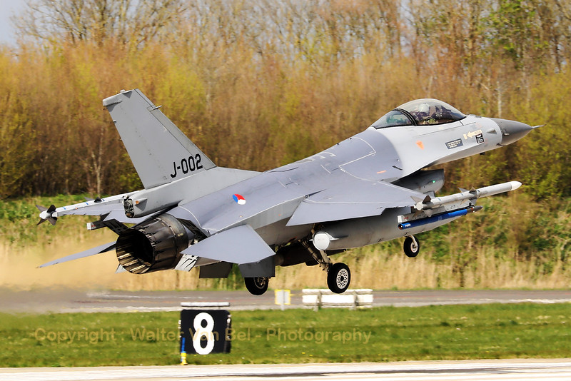 Royal Netherlands Air Force F-16AM (J-002; cn6D-158), about to touch down on RWY06 at the end of another mission during Frisian Flag 2019 at Leeuwarden AFB.