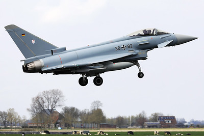 German Air Force EF-2000 Typhoon S (30+82; cnGS062) from TLG31 (Boelcke) at Nörvenich, about to touch down on RWY06 at the end of another mission during Frisian Flag 2019 at Leeuwarden AFB, with a typical Frisian landscape in the background.