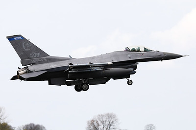 US Air Force F-16CM (96-0081; cnCC-203), about to touch down on RWY06 at the end of another mission during Frisian Flag 2019 at Leeuwarden AFB. This F-16CM belongs to the 179th Fighter Squadron (179 FS), a unit of the Minnesota Air National Guard 148th Fighter Wing located at Duluth Air National Guard Base.