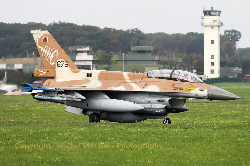 """Israeli Air Force F-16D """"Barak"""" (676; cnCK-26) from 105 SQN at Hatzor (LLHS), seen here on the taxitrack to the active runway at Nörvenich AB, at the start of the final """"MAG-Days""""-mission during this deployment."""