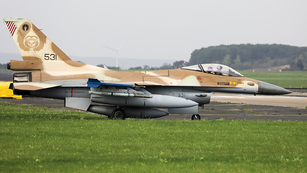 """Israeli Air Force F-16C """"Barak"""" (531; cnCJ-17) from 101 SQN at Hatzor (LLHS), seen here on the taxitrack to the active runway at Nörvenich AB, at the start of the final """"MAG-Days""""-mission during this deployment."""