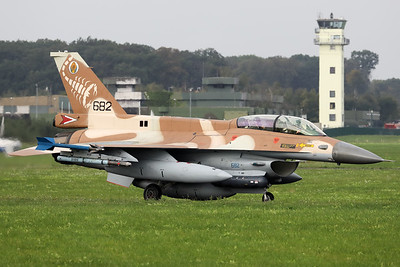 "Israeli Air Force F-16D ""Barak"" (682; cnCK-28) from 105 SQN at Hatzor (LLHS), seen here on the taxitrack to the active runway at Nörvenich AB, at the start of the final ""MAG-Days""-mission during this deployment."