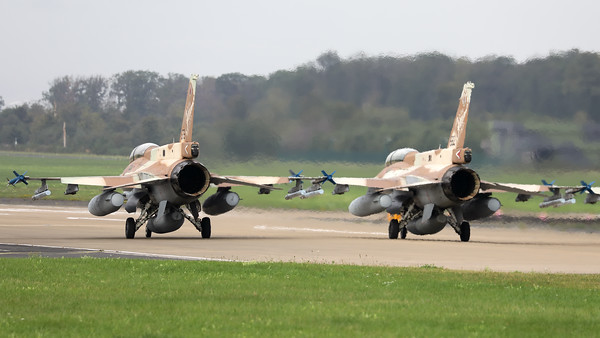 "Israeli Air Force F-16D ""Barak"" (676; cnCK-26) from 105 SQN at Hatzor (LLHS), seen here  lining-up on the active runway at Nörvenich AB, at the start of the final ""MAG-Days""-mission during this deployment."
