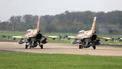 """Israeli Air Force F-16D """"Barak"""" (676; cnCK-26) from 105 SQN at Hatzor (LLHS), seen here  lining-up on the active runway at Nörvenich AB, at the start of the final """"MAG-Days""""-mission during this deployment."""