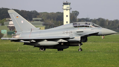 """German Air Force EF-2000 """"Typhoon-T"""" (31+28; cnGT0031) from TLG31 """"Boelke"""", seen here on the taxitrack to the active runway - with Military Aviation Photographer Dr. Stefan Petersen in the backseat - at the start of the final """"MAG-Days""""-mission during the deployment of the Israeli Air Force to Nörvenich AB (Germany)."""