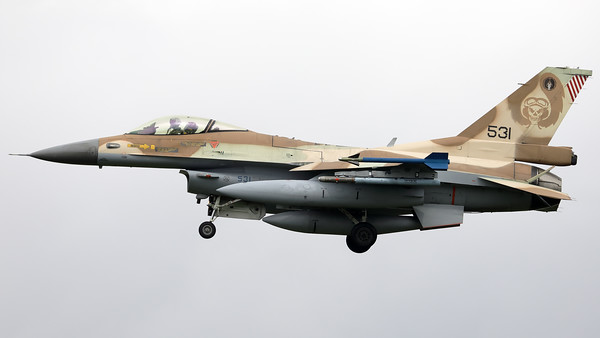 "Israeli Air Force F-16C ""Barak"" (531; cnCJ-17) from 101 SQN at Hatzor (LLHS), seen here on final for RWY25 at Nörvenich AB, at the end of the final ""MAG-Days""-mission during this deployment."
