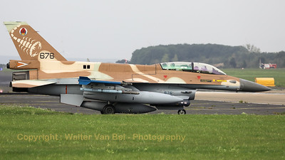 "Israeli Air Force F-16D ""Barak"" (676; cnCK-26) from 105 SQN at Hatzor (LLHS), seen here on the taxitrack to the active runway at Nörvenich AB, at the start of the final ""MAG-Days""-mission during this deployment."