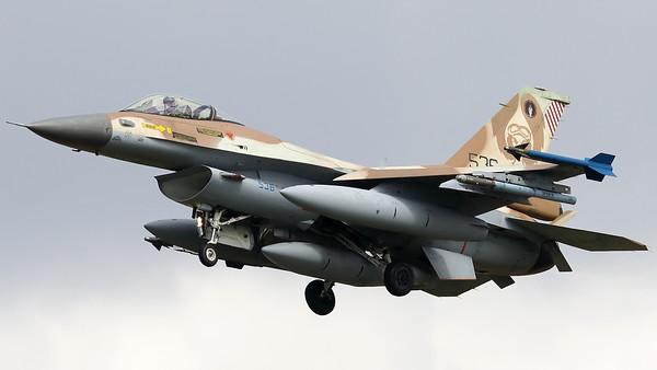 "Israeli Air Force F-16C ""Barak"" (536; cnCJ-20) from 101 SQN at Hatzor (LLHS), seen here on final for RWY25 at Nörvenich AB, at the end of the final ""MAG-Days""-mission during this deployment."