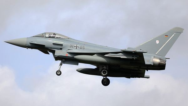 """German Air Force EF-2000 """"Typhoon-S"""" (31+05; cnGS081) from TLG31 """"Boelke"""", seen here on final after another mission of the final """"MAG-Days"""" during the deployment of the Israeli Air Force to Nörvenich AB (Germany)."""