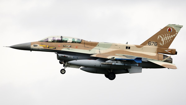 "Israeli Air Force F-16D ""Barak"" (676; cnCK-26) from 105 SQN at Hatzor (LLHS), seen here on final for RWY25 at Nörvenich AB, at the end of the final ""MAG-Days""-mission during this deployment."