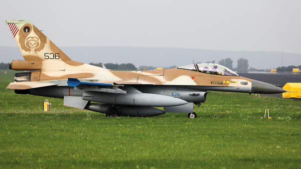 "Israeli Air Force F-16C ""Barak"" (536; cnCJ-20) from 101 SQN at Hatzor (LLHS), seen here on the taxitrack to the active runway at Nörvenich AB, at the start of the final ""MAG-Days""-mission during this deployment."