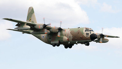"""Israeli Air Force KC-130H """"Karnaf"""" (427; cn382-4662) from 131 SQN """"The Yellow Bird Squadron"""" at Nevatim (LLNV), seen here on final for RWY25 at Nörvenich AB, at the end of the final """"MAG-Days""""-mission during this deployment."""
