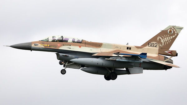 "Israeli Air Force F-16D ""Barak"" (682; cnCK-28) from 105 SQN at Hatzor (LLHS), seen here on final for RWY25 at Nörvenich AB, at the end of the final ""MAG-Days""-mission during this deployment."