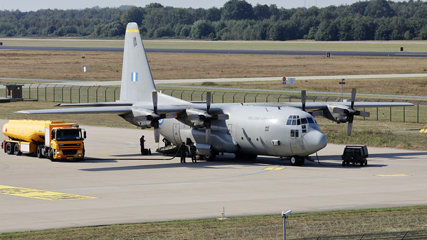 """A Hellenic Air Force C-130H Hercules (741; cn382-4622), from 356 MTM at Elefsis, just arrived at Eindhoven Air Base during exercise """"Falcon Leap""""."""