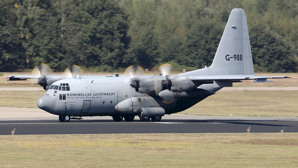 """""""Willem den Toom"""", a Royal Netherlands Air Force C-130H (G-988; cn382-4988), is starting its take-off roll on RWY21 at Eindhoven Air Base, during the exercise """"Falcon Leap""""."""