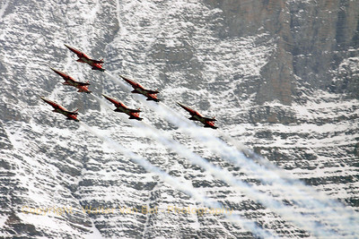 The Patrouille Swiss (J-3084, cn L1084/1187) in action above Axalp - near Meiringen AFB - during the 2005 show, against a marvelous background.