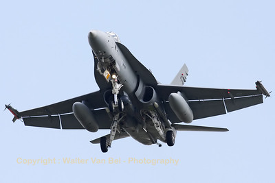 Finnish Air Force F-18C Hornet (HN-422) on final for RWY24 at Leeuwarden, after another mission during Frisian Flag 2012.