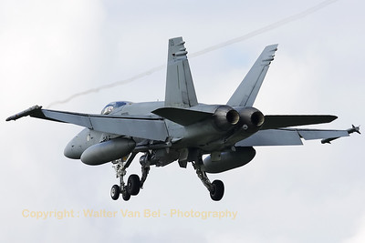Finnish Air Force F-18C Hornet (HN-409) on final for RWY24 at Leeuwarden, after another mission during Frisian Flag 2012.