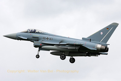 German Air Force EF-2000 Eurofighter (30+83) - from JBG31 - recovering to Leeuwarden AFB, after another mission during Frisian Flag 2012.