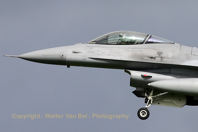 Close-up of a Polish Air Force F-16C (4074/JC-35) recovering to Leeuwarden AFB, after another mission during Frisian Flag 2012.