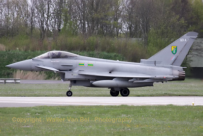 Royal Air Force Typhoon FGR4 (from 3Sq. - Sqn. Ldr. G. Lovett), on the taxitrack at Leeuwarden during Frisian Flag 2012.