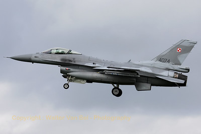 Polish Air Force F-16C (4074/JC-35) recovering to Leeuwarden AFB, after another mission during Frisian Flag 2012.
