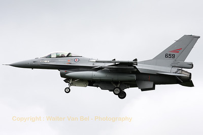 "Royal Norwegian Air Force F-16AM (659), on final for RWY24 after another mission during Frisian Flag 2012. Note the ""5000hrs - Bodo MAS - Feb 2007"" marks on the tail."