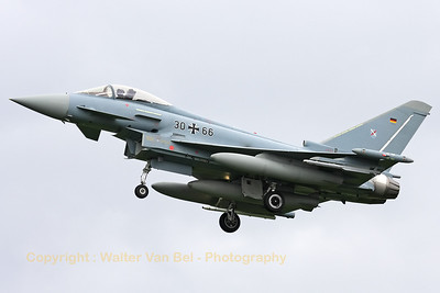 """German Air Force EF-2000 Eurofighter (30+66) - from JBG31 """"Boelcke"""" at Nörvenich - recovering to Leeuwarden AFB, after another mission during Frisian Flag 2012."""