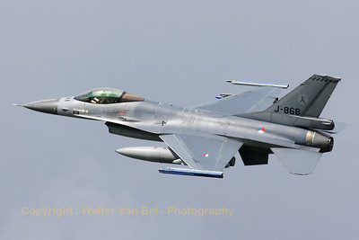 Royal Netherlands Air Force F-16AM (J-868), from 323sq at EHLW, just after take-off from RWY24 at the start of  another mission during Frisian Flag 2012.