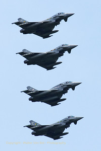 Royal Air Force Typhoon FGR4 from 3sq. (ZJ916/QO-S) leads a 4-ship formation, prior to landing on RWY24 at leeuwarden AFB, after another mission during Frisian Flag 2012. From top to bottom: Typhoon FGR4 (ZJ916/QO-S) from 3Sq; Typhoon FGR4 (ZJ933/DF) from 3Sq; Typhoon T3 (ZJ815/BN) from 29Sq and Typhoon FGR4 (ZJ926/QO-Y) from 3Sq.