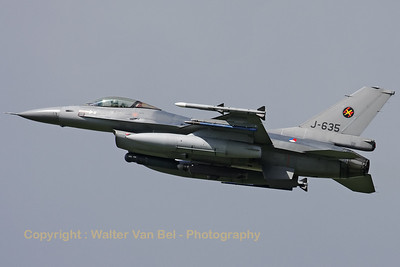 Royal Netherlands Air Force F-16AM (J-635), from 313sq (but with 312sq marks) at EHVK, just after take-off from RWY24 at the start of another mission during Frisian Flag 2012 at Leeuwarden.