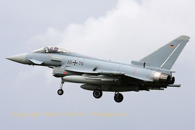German Air Force EF-2000 Eurofighter (30+78) recovering to Leeuwarden AFB, after another mission during Frisian Flag 2012.