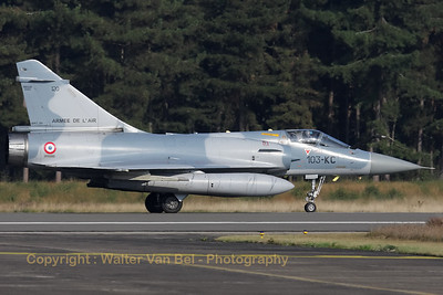 French Air Force Mirage 2000C, slowing down on KB's runway 05, after a morning mission during the Nato Tiger Meet 2009.