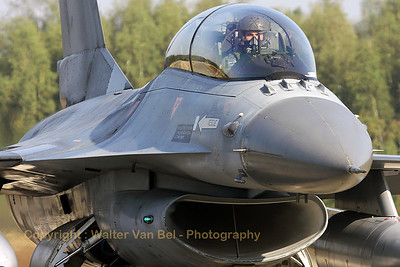 """Pilot """"Geert"""", from 349 squadron, is in the front-seat of this Belgian Air Component F-16BM, ready to perform a training mission during the Nato Tiger Meet 2009 at Kleine Brogel."""