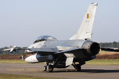 Belgian Air Force F-16BM, on the taxi-track at the start of another training mission during the Nato Tiger Meet 2009 at Kleine Brogel.