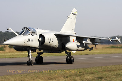 Spanish Air Force Mirage F1M from Ala 14 returns from a morning mission during the 2009 Nato Tiger Meet at Kleine Brogel AFB.
