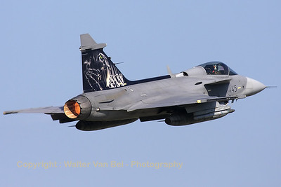 Czech Republic Air Force JAS-39C Gripen (9245 ;cn39245), at the start of an afternoon mission during the Nato Tiger Meet 2010 at Volkel AFB.