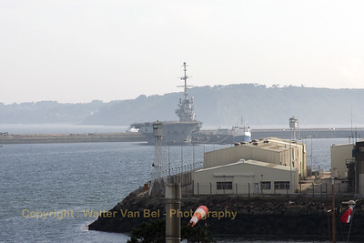 "Old French Navy aircraft carrier ""Clemenceau"", in the harbour of Brest."