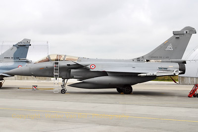 "A French Air Force Rafale C from EC5/330, on the apron at BAN Landivisiau, during ""Ocean Tiger"", the Nato Tiger Meet 2008."
