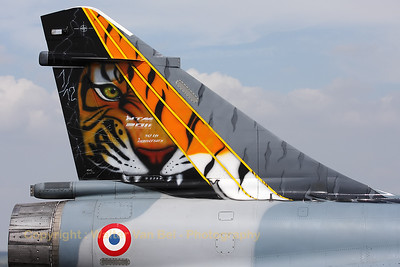 Close-up of the 50th Anniversary tiger-marks on the tail of this Mirage 2000C (88/103-KV ; cn 340) from EC1/12, based at Cambrai (Nato Tiger Meet 2011).