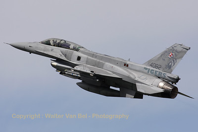 This Polish Air Force F-16DJ (4082; cn JD-7) has been adorned with toned down tiger-marks on its tail. It is seen here taking off from Cambrai during the Nato Tiger Meet 2011.