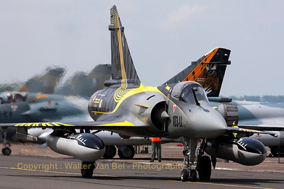 "The beautiful flagship from EC1/12 ""Cambresis"" in new c/s, a Mirage 2000C (80/103-LI ; cn 322), celebrating the 50th anniversary of the Tiger Meet, on the taxiway to RWY28 for another mission during the Nato Tiger Meet 2011."