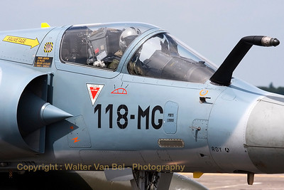 Close-up of a Mont de Marsan based Mirage 2000-5F from ECE 5.330, it is seen here taxiing out to the active runway for another mission during the Nato Tiger Meet 2011 at Cambrai.