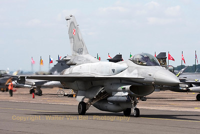 A Polish Air Force F-16CJ from 6.elt (4061; cn JC-22), on the taxiway prior to take-off from Cambrai's RWY28 during the Nato Tiger Meet 2011.
