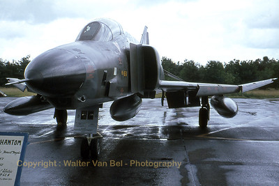 A RF-4E Phantom II (35+36; cn4094) from AKG52 from the German Air Force, on the very wet apron at Kleine Brogel AFB. Scan from slide.