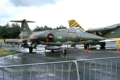 "A Belgian Air Force F-104G Starfighter (FX86; cn683-9147) in the static at Kleine Brogel AFB, during a wet gathering of ""tigers""..."