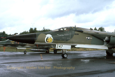 A FB-111A (68-0247; cnB1-19) from the US Air Force (at that time belonging to 509BW/393BS), on a very wet apron at Kleine Brogel AFB.