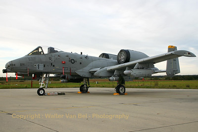USAF A-10A (81-0984; SP; cnA10-0679) parked on the TLP ramp at Florennes after another mission during TLP2005-5. Shot taken during late afternoon when all the aircraft were being prepared for the next mission day.